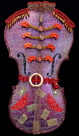 crocheted wire and cello sculpture
