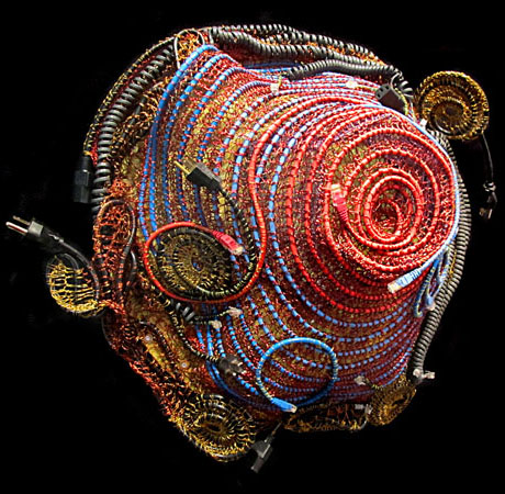 crocheted electronics wire sculpture